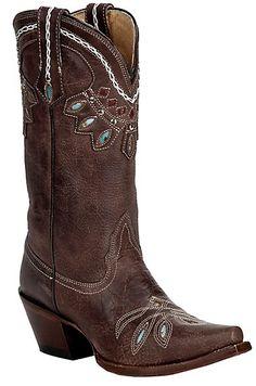 Tony LamaVaqueroLadies Chocolate Rancho w/Cleopatra Stitch Snip Toe Western Boot