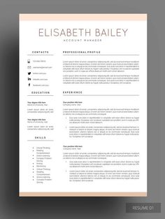 #Resume template, #Cv template, Professional #resume template…