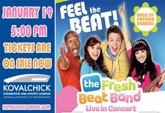 Nickelodeon Presents The Fresh Beat Band Live in concert! Come see Kiki, Marina, Twist and Shout perform on Sunday, January 19th at 5:00pm! Visit our Box Office or call 1-800-298-4200 for tickets!