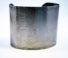 steel owl cuff stainless steel bangle large surgical by annamcdade, $60.00