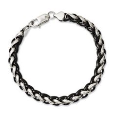 Men's Two-tone Black Plated 7MM Steel Chain Link Bracelet Jewelry Available Exclusively at Gemologica.com