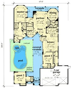 Courtyard House Plans With Pool | Plan W33532EB: Mediterranean, Florida House Plans Home Designs