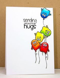 Monster Squad – Jane's Doodles Source by Art Carte, Monster Cards, Card Drawing, Get Well Cards, Handmade Birthday Cards, Watercolor Cards, Watercolour, Kids Cards, Cute Cards