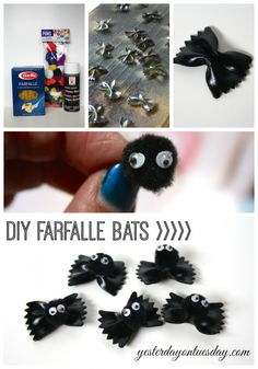 DIY Farfalle Bats #halloweencrafts #halloweendecor #bats #batcrafts #recycledcrafts #upcycledcrafts