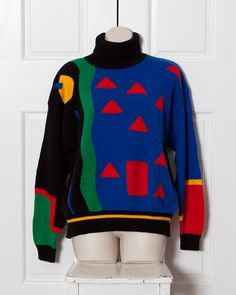 80s Women's Turtleneck Sweater - Crazy Pattern - APOSTROPHE - M on Etsy, $30.00