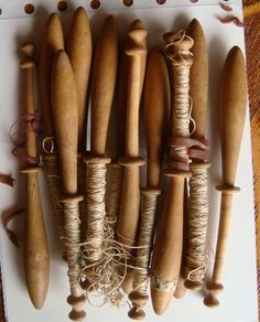 Antique English Wooden Sewing Thread Bobbins; Circa 1800's