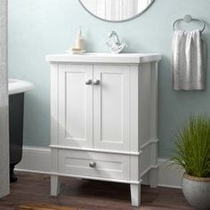 Brayden Studio Adamson Single Bathroom Vanity Set with Mirror 24 Inch Bathroom Vanity, Office Bathroom, Vanity Sink, Small Bathroom, Bathroom Vanities, Bathroom Ideas, Master Bathroom, Tiny Bathrooms, Bathroom Designs