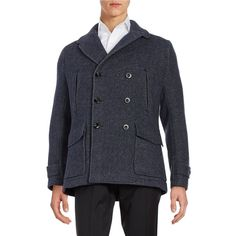 Hardy Amies Men's Wool-Blend Notched Collar Peacoat ($80) ❤ liked on Polyvore featuring men's fashion, men's clothing, men's outerwear, men's coats, navy, mens navy blue peacoat, mens double breasted peacoat, mens navy blue sport coat and mens double breasted coat