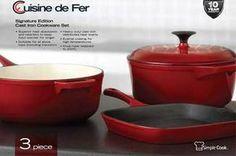 3 PIECE CAST IRON POT SET Cuisine De Fer Signature Edition Cast Iron