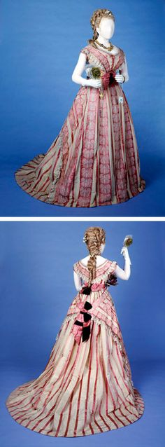 Dress, Mmes Kerteux Soeurs, 1871-1880. Bustle dress of early type made of pink striped silk and trimmed with butterfly motif lace. Museum of London Prints
