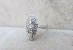 Vintage Diamond Ring Cocktail Ring 14k White Gold Ring MidCentury Ring Retro Ring Marquise Ring Engagement Ring Estate Ring Size 5.75, $1250.00