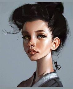 Mel Milton {character illustration beautiful female face portrait digital painting} http://melmade.blogspot.com