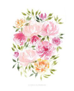 """Pink Peonies"" print by Victoria Bilsborough"