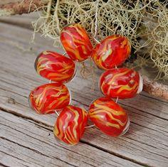Warming Trend - Set of 7 Encased Lampwork Beads - Dan O Beads by koregon on Etsy