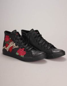 Replay Footwear - Oasis Rose Design Hi Top Trainers Girls Coats, Bonfire Night, Winter Essentials, Rose Design, Black Glitter, Replay, Oasis, Trainers, Footwear