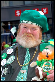 Smiling eyes.  Looks like he is enjoying St Pats day.  Top of the morn to you sir! Can't wait til st pats