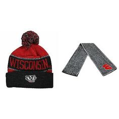 NCAA Wisconsin Badgers Belowzero Beanie Hat And Hail Scarf 2 Pack 49741