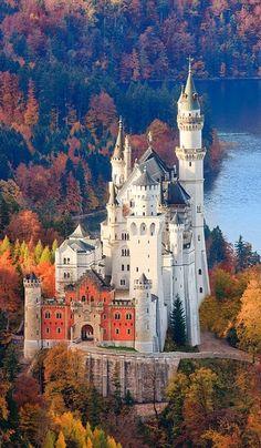 Cindarella Castle original Neuschwanstein Castle in Allgau, Bavaria, Germany  Looks beautiful in autumn