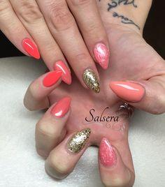 Nails, coral, Gold Glitter, multicolor, Fullcover, Salsera Nails & Lashes