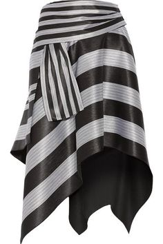 Proenza Schouler - Asymmetric Striped Jacquard Skirt - Black - US0