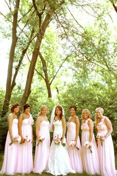 pale pink one shouldered bridesmaid gowns
