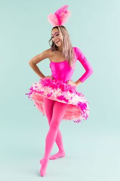 Use a pink body suit, pink tights and a pink boa to make this flamingo costume.