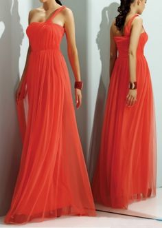 Coral tulle One Shoulder Gown  Dress USA 10 $49.90. This would be soooooo pretty on you Cam
