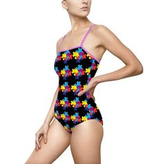Autism Support, Women's One Piece Swimsuits, Spandex, One Piece For Women, Swimmers, Vivid Colors, Tankini, Construction, Running