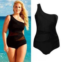 Women's Sexy Bandage Plus Size One piece Bathing Suit Black XL-3XL - Loluxe - 2