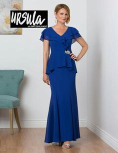 Ursula 31454 Short Draped Sleeve Mothers Gown