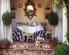 Mary McDonald - 'bringing the indoors out' - gazebo dining - Swedish chairs & a French mirror