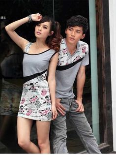 Casual design short sleeve couple shirts