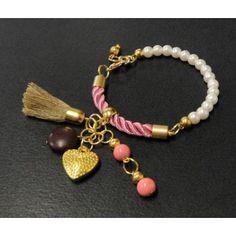 Pulsera de Moda con Perla, Turquesa y Cordón de Seda