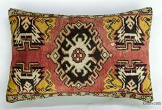 Decorative hand woven pillow cover made of 50-60 years old Turkish pile rug fragments backed with cotton cloth. Zipper closure. Insert not included.