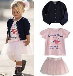 3 Pieces Set T-shirt+Coat+Skirt Outfits Girls Baby Clothes TuTu Dress Years Baby Outfits, Skirt Outfits, Dress Skirt, Coat Dress, Shirt Skirt, Pants Outfit, Fashion Kids, Frack, Baby Tutu