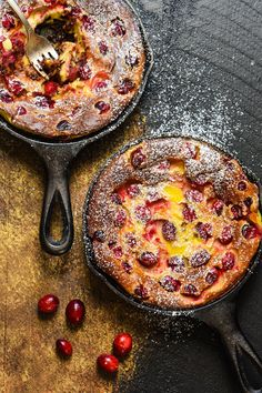 Cranberry Chocolate Chip Clafoutis - Impress your family and friends with this fancy-sounding but super easy (you make the batter in a BLENDER!) custard dessert.   foxeslovelemons.com