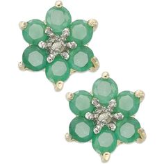 Victoria Townsend 18k Gold over Sterling Silver Earrings, Emerald... (62 BRL) ❤ liked on Polyvore featuring jewelry, earrings, accessories, no color, 18k gold earrings, sterling silver flower stud earrings, 18k gold jewelry, 18k yellow gold earrings and gold emerald earrings