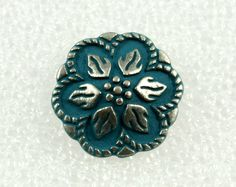 Wholesale - Metal Buttons - Lot 50 Darkturquoise Painting Peperomia Leafs Gunemtal Patel Edge Buttons. 0.67 inch by Lyanwood, $23.99
