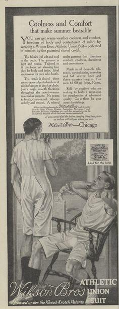 1915+Ad+Men+in+Underwear+Union+Suit+Watch+Tennis+out+the+Window+Wilson+Bros.+++581915SEP