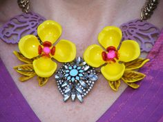 This Happiness Boutique yellow pansy necklace instantly transforms a plain outfit and injects some much-needed colour into a grey November day. Statement Necklaces, Pansies, Nifty, Fashion Necklace, Happiness, Boutique, Happy, Color, Jewelry