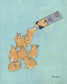 Acrylic Paint by Schinako Moriyama. Schinako Moriyama is an illustrator as bunny… Acrylic Paint by Schinako Moriyama. Schinako Moriyama is an illustrator as bunny art from Fukushima, Japan Continue reading and for more Acrylic art→View Website Art And Illustration, Character Illustration, Rabbit Illustration, Animal Illustrations, Pretty Art, Cute Art, Lapin Art, Arte Peculiar, Illustrator