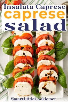 Quick, easy and delicious, this Italian caprese salad is perfect to serve as an appetizer or a side dish. Made with simple ingredients and finished with an olive oil and balsamic vinegar dressing, it's ready to serve in less than 10 minutes. I'm not much of a salad person but there are always times when you want to accompany your meals with something fresh and delicious. This is without doubt my favorite salad ever! | @mydominicankitchen #howtomakecapresesalad Healthy Side Dishes, Healthy Breakfast Recipes, Healthy Drinks, Healthy Food, Yummy Food, Vegetarian Appetizers, Italian Appetizers, Gourmet Appetizers, Quick Meals