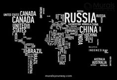 World Map Wordcloud - Image View | Murals Your Way