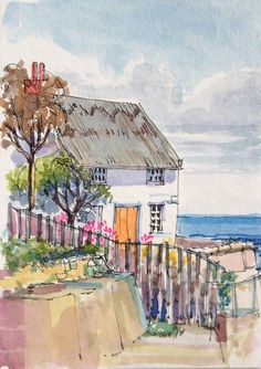 Original Watercolour Painting ACEO -Thatched Cottage - by Annabel Burton