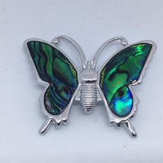 Vintage BUTTERFLY BROOCH PIN Blue Abalone Shell Wings Silver Tone Insect Jewelry $5.00 Sale! #ebay #vintagebrooches #costumejewelry #bringbackthebrooch #wear_its_hat