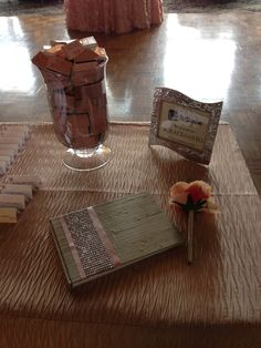 Match Book Favors, a beautiful Guest Book and a lovely sign for guests to hashtag the couples wedding on Instagram. Great Wedding Ideas! http://danversport.com/