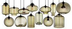 Niche Modern's Blown Glass Pendant Lights || Smoked glass pendant lights / chandelier