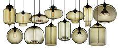Niche Modern's Blown Glass Pendant Lights || Smoked glass pendant lights / chandelier