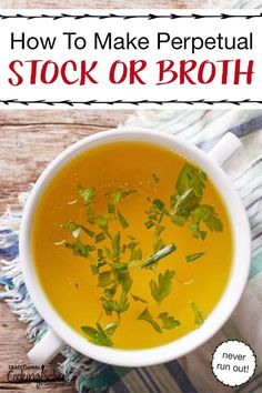 The routine of making homemade stock or bone broth constantly can be inconvenient. With perpetual stock, however, you hardly feel like you're working at all. Toss in a variety of vegetable, bone and apple cider vinegar with some seasonings and be on your way to healing your gut. Use chicken, beef, turkey or just veggie, then use your broth in your favorite recipes, soup or to aid in the GAPS diet. #broth #stock #bone #chicken #beef #crockpot #homemade Soup Recipes, Whole Food Recipes, Diet Recipes, Healthy Recipes, Healthy Soups, Healthy Teeth, Cooker Recipes, Healthy Food, Best Healthy Soup Recipe