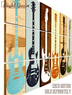 Custom Guitar Art on 3 Panels Design 3 Music Art by RightGrain
